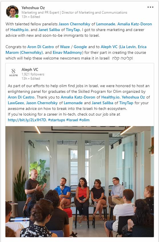 Aleph VC LinkedIn post on Skilled Program marketing panel - shared